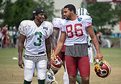 New York Jets wide receiver Andre Roberts (3) and Washington Redskins tight end Jordan Reed (86) converse after participating in a joint training camp practice with the Washington Redskins at the Washington Redskins Bon Secours Training Facility in Richmond, Virginia on Monday, August 13, 2018.<br /> Credit: Ron Sachs / CNP<br /> (RESTRICTION: NO New York or New Jersey Newspapers or newspapers within a 75 mile radius of New York City)