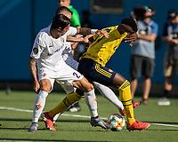 CHARLOTTE, NC - JULY 20: Bukayo Saka #77 and Lorenzo Venuti #2 contest the ball during a game between ACF Fiorentina and Arsenal at Bank of America Stadium on July 20, 2019 in Charlotte, North Carolina.
