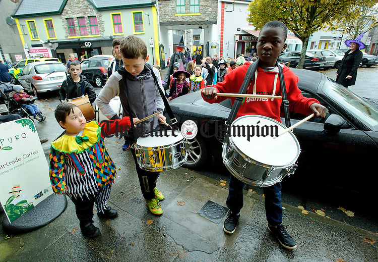 Maximo Ferao welcomes his Holy Family school friends to the Clare Champion Halloween Party. Photograph by John Kelly.