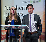 © Joel Goodman - 07973 332324 . NO SYNDICATION PERMITTED . 06/11/2014 . Leeds , UK . Year 13 students Freya Tweedy and Sam Simkins of Abbey Grange Academy in Leeds , address the Northern Futures Summit in Leeds this morning (Thursday 6th November 2014) .  . Photo credit : Joel Goodman