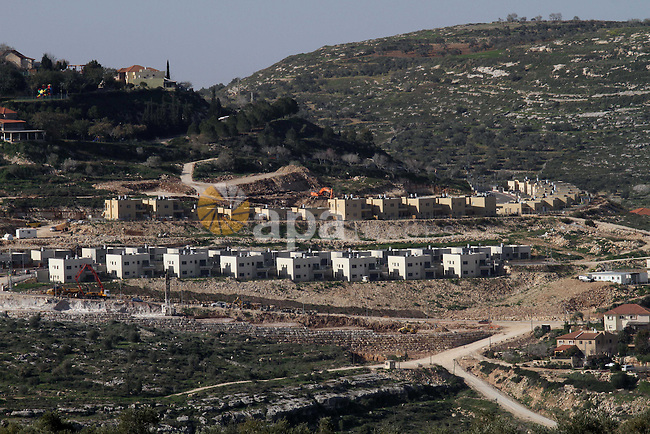 A picture shows a partial view of the Israeli settlement of Qadumim (Kedumim), near the Palestinian town of Nablus, in the Israeli-occupied West Bank, on February 10, 2015. According to the Israeli press, the country is preparing major expansions of the settlements of Kedumim, Vered Yericho, Neveh Tzuf and Emanuel. Photo by Nedal Eshtayah
