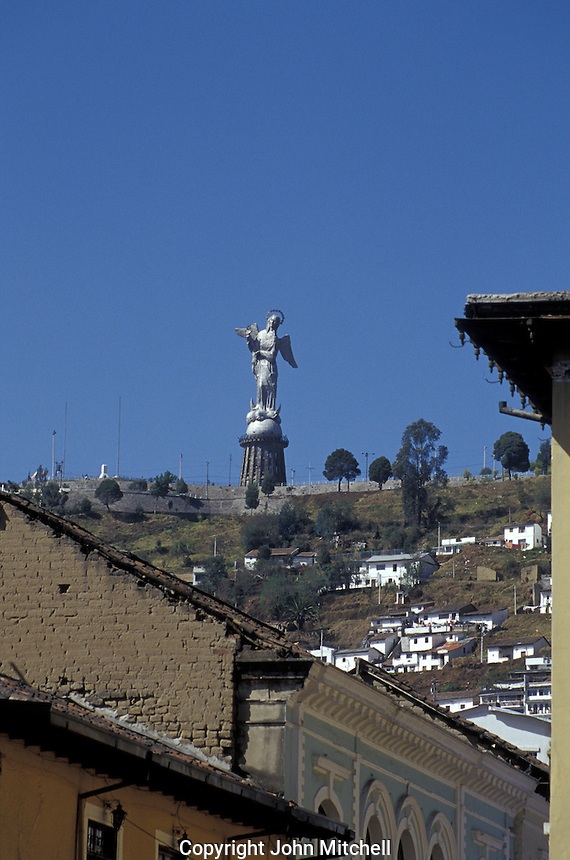 La Virgen de Quito statue and lookout on El Panecillo hill above the old city of Quito, Ecuador. Old Quito was made a UNESCO World Heritage Site in 1978.