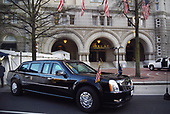 The presidential limousine, aka The Beast, is parked in front of the Trump hotel as United States President Donald Trump attends a dinner with supporters on April 30, 2018 in Washington, DC. <br /> Credit: Olivier Douliery / Pool via CNP