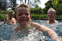 Felix, Lucas, Johnny, and Daddy in pool. Tepoztlan with family Feb 29, 2008