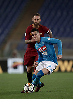 Calcio, Serie A: Roma, stadio Olimpico, 14 ottobre 2017.<br /> Napoli's Jos&eacute; Maria Callejon (r) in action with Roma's Daniele De Rossi (l) during the Italian Serie A football match between Roma and Napoli at Rome's Olympic stadium, October14, 2017.<br /> UPDATE IMAGES PRESS/Isabella Bonotto