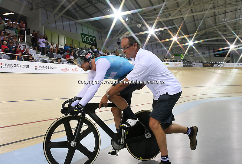 WCNI Simon Van Velthooven lines up for the ME BNZ Sprint Semifinal against Sam Webster at the BikeNZ Elite & U19 Track National Championships, Avantidrome, Home of Cycling, Cambridge, New Zealand, Friday, March 14, 2014.  Photo: Dianne Manson
