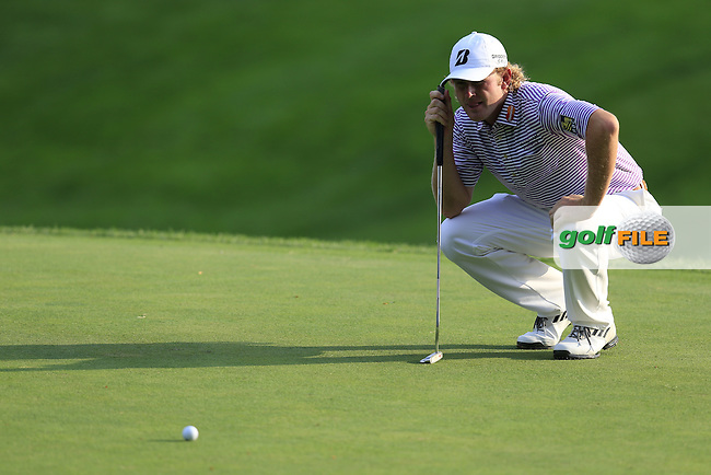 Brandt Snedeker (USA) lines up his putt on the 18th green during Thursday's Round 1 of the 95th US PGA Championship 2013 held at Oak Hills Country Club, Rochester, New York.<br /> 8th August 2013.<br /> Picture: Eoin Clarke www.golffile.ie