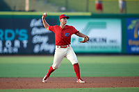 Clearwater Threshers third baseman Brian Mims (10) throws to first base during a game against the Florida Fire Frogs on June 1, 2018 at Spectrum Field in Clearwater, Florida.  Florida defeated Clearwater 12-10.  (Mike Janes/Four Seam Images)