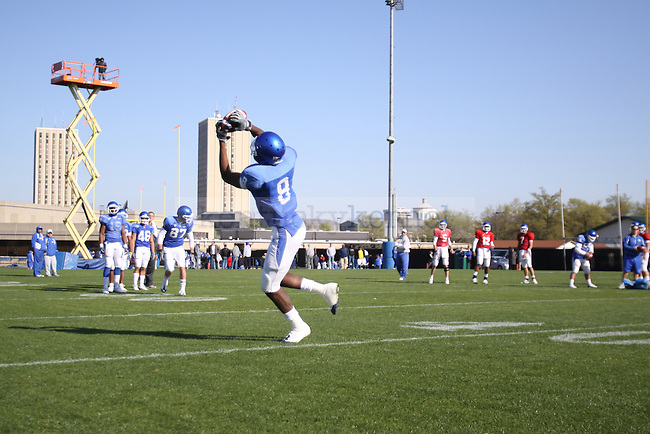 The UK football team practices at the Nutter Field House Practice Facility Friday morning. Photo by Scott Hannigan | Staff