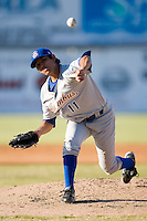 Starting pitcher Brian Flores (11) of the Columbus Catfish in action versus the Hickory Crawdads at L.P. Frans Stadium in Hickory, NC, Wednesday, May 21, 2008.