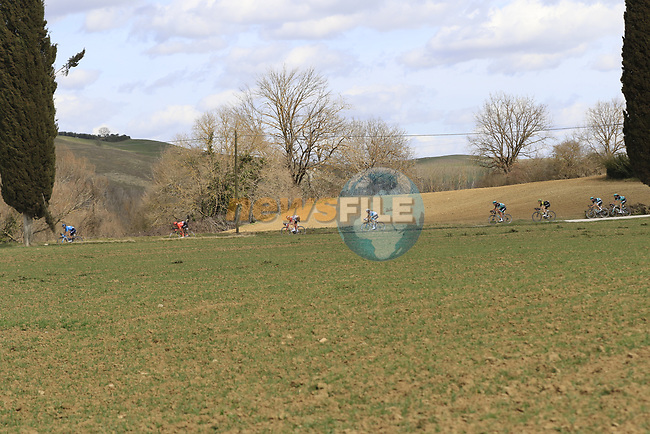The peloton on sector 5 Lucignano d'Asso during Strade Bianche 2019 running 184km from Siena to Siena, held over the white gravel roads of Tuscany, Italy. 9th March 2019.<br /> Picture: Eoin Clarke | Cyclefile<br /> <br /> <br /> All photos usage must carry mandatory copyright credit (© Cyclefile | Eoin Clarke)