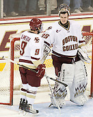 Barry Almeida (BC - 9), Parker Milner (BC - 35) - The Boston College Eagles defeated the visiting University of Massachusetts-Lowell River Hawks 5-3 (EN) on Saturday, January 22, 2011, at Conte Forum in Chestnut Hill, Massachusetts.