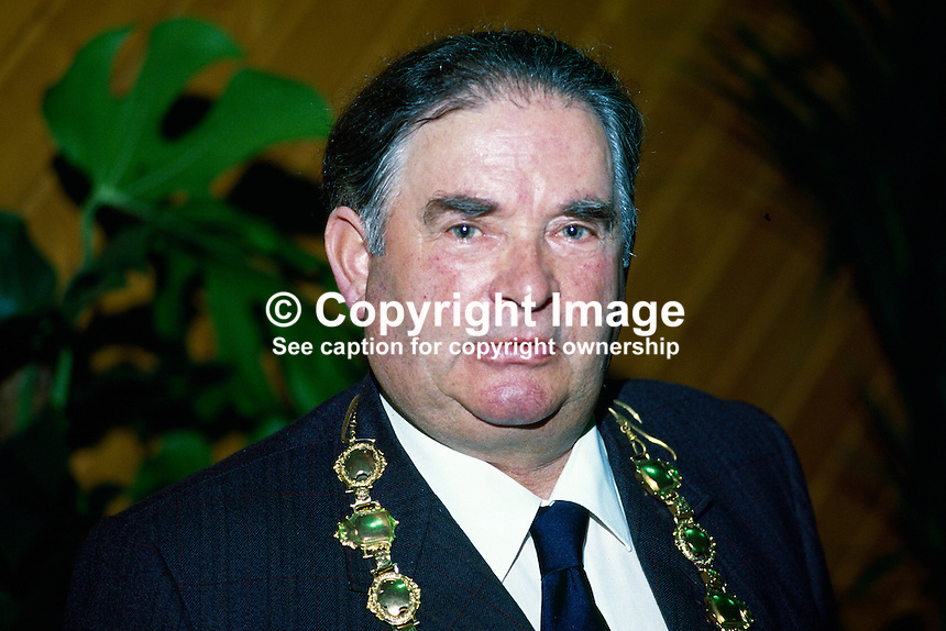 Alderman John McNickle, Mayor of Derry, SDLP, 1985/1986, 19850711JMN..Copyright Image from Victor Patterson, 54 Dorchester Park, Belfast, UK, BT9 6RJ..Tel: +44 28 9066 1296.Mob: +44 7802 353836.Voicemail +44 20 8816 7153.Skype: victorpattersonbelfast.Email: victorpatterson@mac.com.Email: victorpatterson@ireland.com (back-up)..IMPORTANT: If you wish to use this image or any other of my images please go to www.victorpatterson.com and click on the Terms & Conditions. Then contact me by email or phone with the reference number(s) of the image(s) concerned.