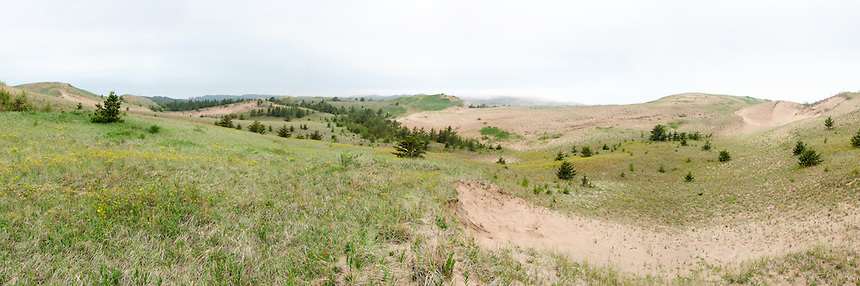 A panoramic view of Grand Sable Dunes on a foggy day. Grand Marais, MI.