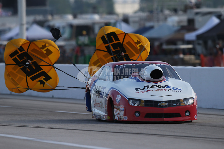 Apr. 26, 2013; Baytown, TX, USA: NHRA pro stock driver Greg Stanfield during qualifying for the Spring Nationals at Royal Purple Raceway. Mandatory Credit: Mark J. Rebilas-