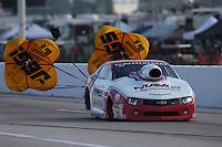 Apr. 26, 2013; Baytown, TX, USA: NHRA pro stock driver Greg Stanfield during qualifying for the Spring Nationals at Royal Purple Raceway. Mandatory Credit: Mark J. Rebilas-