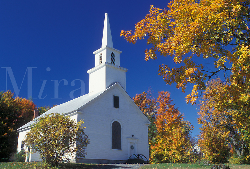 church, fall, Sutton, VT, Vermont, Church in Sutton surrounded by colorful fall foliage in the autumn.