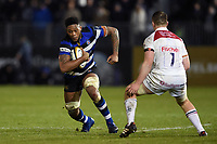 Levi Douglas of Bath Rugby in possession. Anglo-Welsh Cup match, between Bath Rugby and Leicester Tigers on November 10, 2017 at the Recreation Ground in Bath, England. Photo by: Patrick Khachfe / Onside Images