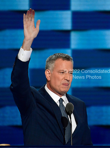 Mayor Bill De Blasio (Democrat of New York, New York) makes remarks during the third session of the 2016 Democratic National Convention at the Wells Fargo Center in Philadelphia, Pennsylvania on Wednesday, July 27, 2016.<br /> Credit: Ron Sachs / CNP<br /> (RESTRICTION: NO New York or New Jersey Newspapers or newspapers within a 75 mile radius of New York City)