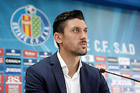 Ciprian Andrei Marica attends a press conference after his official presentation as a new Getafe player at Alfonso Perez Stadium in Getafe, Madrid, Spain. October 2, 2013. (ALTERPHOTOS/Victor Blanco)
