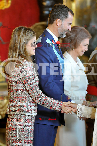 Princess Letizia of Spain, Prince Felipe of Spain and Queen Sofia of Spain attend the Royal Palace reception on the National Military Parade.October 12,2012.(ALTERPHOTOS/Pool) /NortePhotoAgency