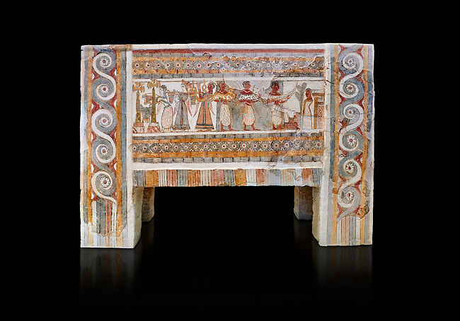 The painted Minoan Hagia Triada Sarcophagus 1370-1300 BC. Heraklion Archaeological Museum. Black Background. <br /> <br /> The limestone Hagia Triada Sarcophagus is painted with frescoes depicting the ceremonies honouring the dead.