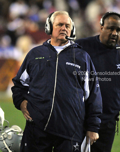 Landover, MD - November 16, 2008 -- Dallas Cowboys head coach Wade Phillips prepares to call a play in the second quarter against the Washington Redskins at FedEx Field in Landover, Maryland on Sunday, September 9, 2007.  The Cowboys won the game 14 - 10..Credit: Ron Sachs / CNP