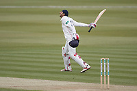 Haseeb Hameed of Lancashire CCC celebrates his century during Middlesex CCC vs Lancashire CCC, Specsavers County Championship Division 2 Cricket at Lord's Cricket Ground on 12th April 2019