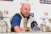 Thomas Bjorn (Captain Europe) during an interview after the Friday Foursomes of the Eurasia Cup at Glenmarie Golf and Country Club on the 12th January 2018.<br /> Picture:  Thos Caffrey / www.golffile.ie