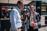 ASO president Christian Prudhomme & Thomas Voeckler having a pre-race chat in the Village Départ<br /> <br /> Stage 5: Lorient > Quimper (203km)<br /> <br /> 105th Tour de France 2018<br /> ©kramon