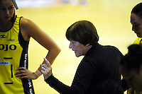 Pulse coach Robyn Broughton makes a point during the ANZ Netball Championship match between the Central Pulse and Waikato Bay Of Plenty Magic at TSB Bank Arena, Wellington, New Zealand on Monday, 30 March 2015. Photo: Dave Lintott / lintottphoto.co.nz