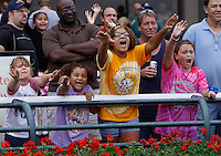 September 3, 2012. Scene at Parx Racing on Turf Monster/Smarty Jones Stakes Day: young fans hope to catch one of the tee-shirts tossed by the winning jockey after each race. (Joan Fairman Kanes/Eclipse Sportswire)