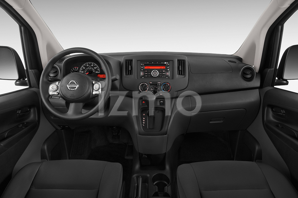 Stock photo of straight dashboard view of a 2014 Nissan NV 200 Cargo S 5 Door Van Dashboard