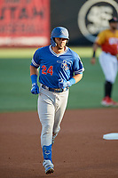Edwin Rios (24) of the Oklahoma City Dodgers circles the bases after hitting a home run against the Salt Lake Bees at Smith's Ballpark on August 1, 2019 in Salt Lake City, Utah. The Bees defeated the Dodgers 14-4. (Stephen Smith/Four Seam Images)