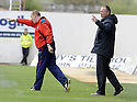 18/04/2009  Copyright Pic: James Stewart.sct_jspa12_falkirk_v_hearts.FALKIRK MANAGER JOHN HUGHES AND ASSISTANT BRIAN RICE GET OVER THEIR INSTRUCTIONS....James Stewart Photography 19 Carronlea Drive, Falkirk. FK2 8DN      Vat Reg No. 607 6932 25.Telephone      : +44 (0)1324 570291 .Mobile              : +44 (0)7721 416997.E-mail  :  jim@jspa.co.uk.If you require further information then contact Jim Stewart on any of the numbers above.........