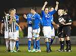 St Mirren v St Johnstone...25.03.14    SPFL<br /> Steven Anderson celebrates at full time<br /> Picture by Graeme Hart.<br /> Copyright Perthshire Picture Agency<br /> Tel: 01738 623350  Mobile: 07990 594431