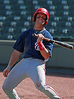 Washington Nationals minor league outfielder Bryce Harper (34) reacts on deck to the third out of the 9th inning during a game vs. the Detroit Tigers in an Instructional League game at Joker Marchant Stadium in Lakeland, Florida October 1, 2010.   Harper was selected in the first round, 1st overall, of the 2010 MLB Draft out of Southern Nevada Junior College.  Photo By Mike Janes/Four Seam Images