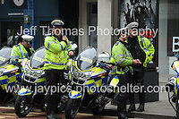 Peoples March for the NHS - Central London, Saturday 6th Sept 2014 - <br /> <br /> Police controls at the Protest starting point. <br /> <br /> <br /> <br /> <br /> Photographer: Jeff Thomas - Jeff Thomas Photography - 07837 386244/07837 216676 - www.jaypics.photoshelter.com - swansea1001@hotmail.co.uk