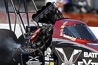Apr. 28, 2013; Baytown, TX, USA: The blower and injector sits sideways on top of the motor of NHRA top fuel dragster driver Spencer Massey after an explosion during the Spring Nationals at Royal Purple Raceway. Mandatory Credit: Mark J. Rebilas-