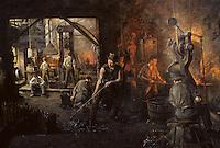 Europe/France/Auverne/63/Puy-de-Dôme/Parc Naturel Régional du Livradois-Forez/Thiers: Le musée des couteliers - Tableau des ouvriers