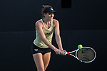Mary Caroline Meredith of the Wake Forest Demon Deacons returns the ball during the match against the North Carolina Tar Heels at the Wake Forest Tennis Center on March 29, 2017 in Winston-Salem, North Carolina. The Tar Heels defeated the Demon Deacons 6-1.  (Brian Westerholt/Sports On Film)
