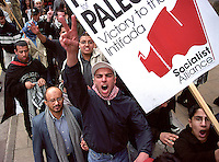 Demonstration in support of the Palestinian intifada.<br /> Birmingham England.<br /> April 2002