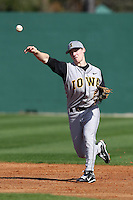 Second baseman Kurt Lee #2 of the Iowa Hawkeyes during the Big East-Big Ten Challenge vs. the West Virginia Mountaineers at Jack Russell Stadium in Clearwater, Florida;  February 18, 2011.  West Virginia defeated Iowa 5-0 in both teams opening games of the season.  Photo By Mike Janes/Four Seam Images
