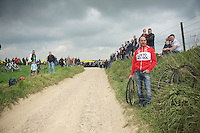 waiting fans and teams on the very first cobbled section (nr 28) of the day, 97km's into the race<br /> <br /> Paris - Roubaux 2014