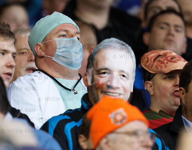 Rangers fans having a fancy dress party at Pittodrie