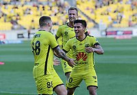 Phoenix's Ulises Davila congratulates Gary Hooper on his goal during the A-League football match between Wellington Phoenix and Melbourne Victory FC at Sky Stadium in Wellington, New Zealand on Sunday, 15 March 2020. Photo: Dave Lintott / lintottphoto.co.nz