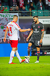 07.10.2018, Red Bull Arena, Leipzig, GER, 1. FBL 2018/2019, RB Leipzig vs. 1. FC N&uuml;rnberg/Nuernberg,<br /> <br /> DFL REGULATIONS PROHIBIT ANY USE OF PHOTOGRAPHS AS IMAGE SEQUENCES AND/OR QUASI-VIDEO.<br /> <br /> im Bild<br /> <br /> <br /> Mikael Ishak (#9, 1. FC Nuernberg), Willi Orban (#4, RB Leipzig), <br /> <br /> Foto &copy; nordphoto / Dostmann