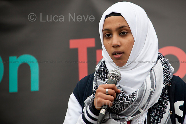 Sanasino al Yemen (Spoken word artist and poet).<br /> <br /> London, 08/10/2011. Today Trafalgar Square was the stage of the &quot;Antiwar Mass Assembly&quot; organised by The Stop The War Coalition to mark the 10th Anniversary of the invasion of Afghanistan. Thousands of people gathered in the square to listen to speeches given by journalists, activists, politicians, trade union leaders, MPs, ex-soldiers, relatives and parents of soldiers and civilians killed during the conflict, and to see the performances of actors, musicians, writers, filmmakers and artists. The speakers, among others, included: Jeremy Corbin, Joe Glenton, Seumas Milne, Brian Eno, Sukri Sultan and Shadia Edwards-Dashti, Hetty Bower, Mark Cambell, Sanum Ghafoor, Andrew Murray, Lauren Booth, Kate Hudson, Sami Ramadani, Yvone Ridley, Mark Rylance, Dave Randall, Roger Lloyd-Pack, Rebecca Thorn, Sanasino al Yemen, Elvis McGonagall, Lowkey (Kareem Dennis), Tony Benn, John Hilary, Bruce Kent, John Pilger, Billy Hayes, Alison Louise Kennedy, Joan Humpheries, Jemima Khan, Julian Assange, Lindsey German, George Galloway. At the end of the speeches a group of protesters marched toward Downing Street where after a peaceful occupation the police made some arrests.