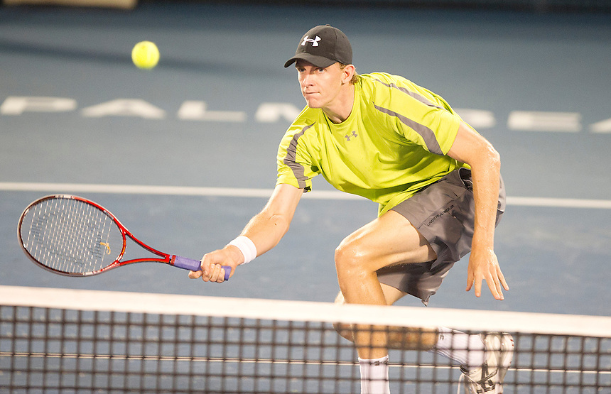 Kevin Anderson (RSA) in action during his Quarter Final match against Andy Roddick (USA) today..ATP 250 Tennis - 2012 Delray Beach International Tennis Championships - Day 5 - Friday 02 March 2012 - Delray Beach Stadium & Tennis Center - Delray Beach - Florida - USA..