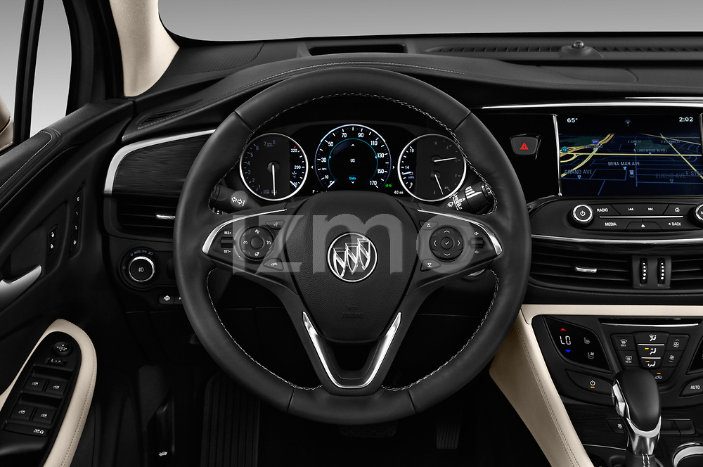 Car pictures of steering wheel view of a 2018 Buick Envision Premium-II-AWD 5 Door SUV Steering Wheel